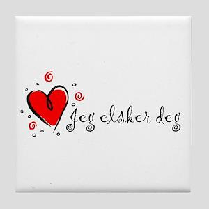 """I Love You"" [Norwegian] Tile Coaster"